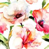 Bezszwowa tapeta z kwiatami Lily - 59282670