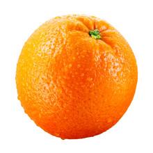 Orange Fruit With Drops Isolated On White Background