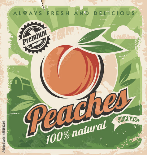 Peaches, vintage poster template Canvas-taulu