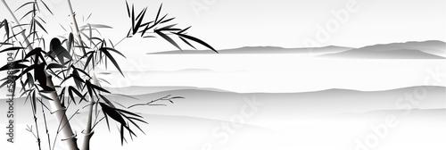 Fotobehang Wit landscape painting