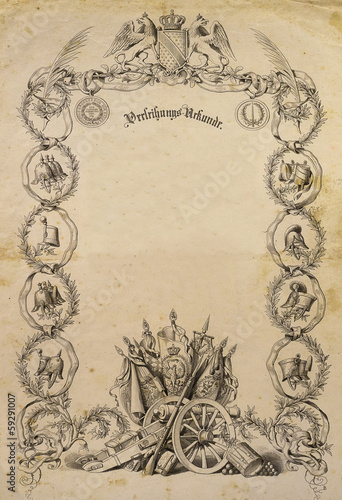 alte antike Urkunde, Verleihungsurkunde 1850 - Buy this stock photo ...