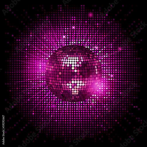 Obraz na plátně disco ball pink party background ai