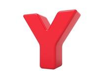Red 3D Letter Y.