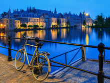 Bike On Canal In The Hague Close To Binnenhof