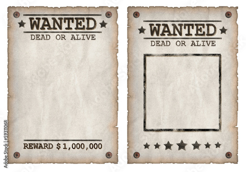 Photo  Wanted dead or alive grungy faded posters