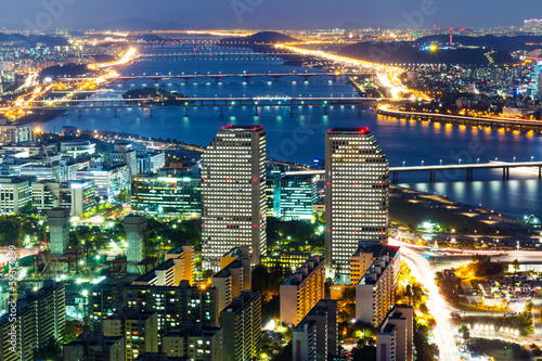 Foto op Plexiglas Seoel Seoul skyline at night