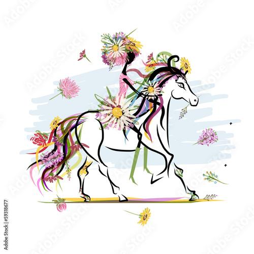 kwiatowa-dziewczyna-na-bialym-koniu-dla-swojego-projektu