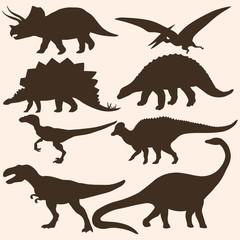 Fototapeta vector set of 8 dinosaurs silhouettes