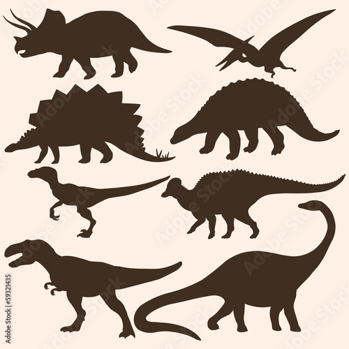 Photo  vector set of 8 dinosaurs silhouettes