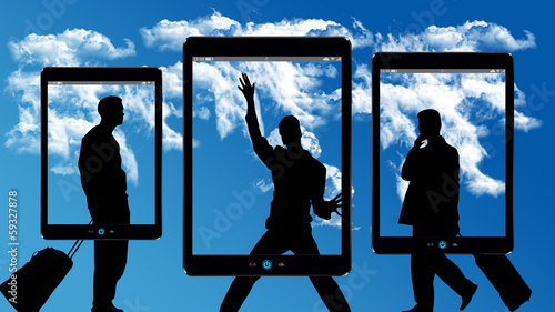 Fotografering  cloud computing businessman with modern devices