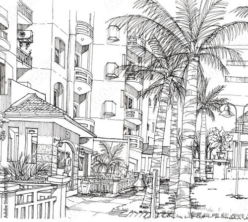 In de dag Illustratie Parijs condominium hand line drawing