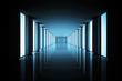 canvas print picture - Lit up black modern hallway