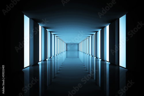 Canvas Lit up black modern hallway