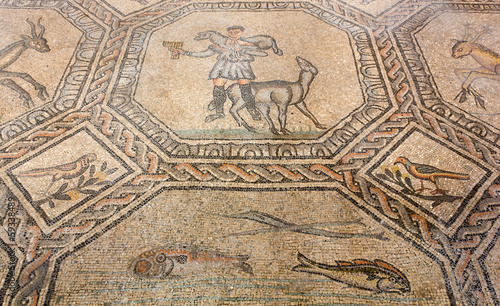 Ancient Floor Mosaic in the Basilica of Aquileia, Italy Canvas Print