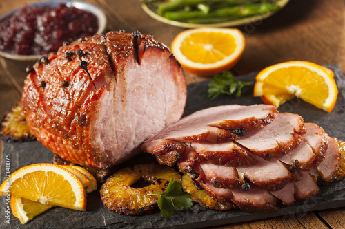 Fototapeta Traditional Sliced Honey Glazed Ham obraz