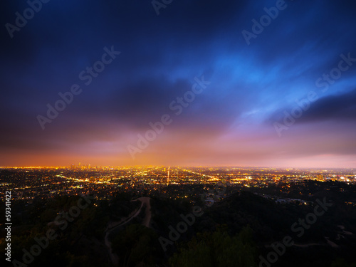Photo  Los Angeles city panorama at night