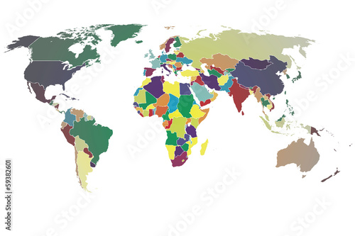 World Map Vector color gradient