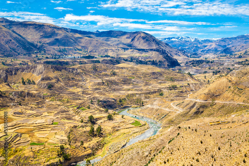 Spoed Foto op Canvas Zuid-Amerika land Colca Canyon, Peru,South America.Incas to build Farming terraces