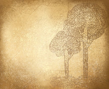 Vector  Abstract Trees On Grunge Background.