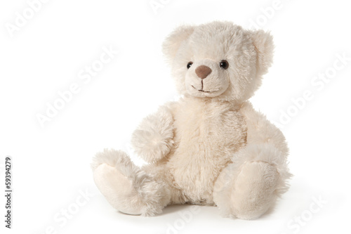 Fotomural Fluffy teddy bear isolated on white