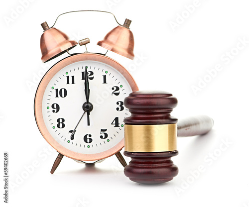 Gavel and old clock Canvas Print