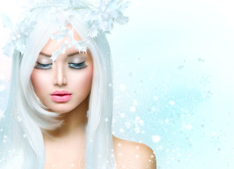 Winter Beauty Woman. Girl with Snow Hairstyle
