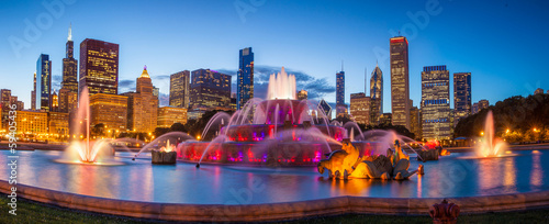Poster de jardin Chicago Buckingham fountain