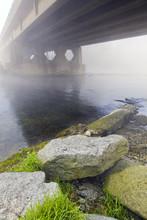 Winter Riversides With Bridge ...