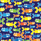 colorful fish cartoon seamless illustration