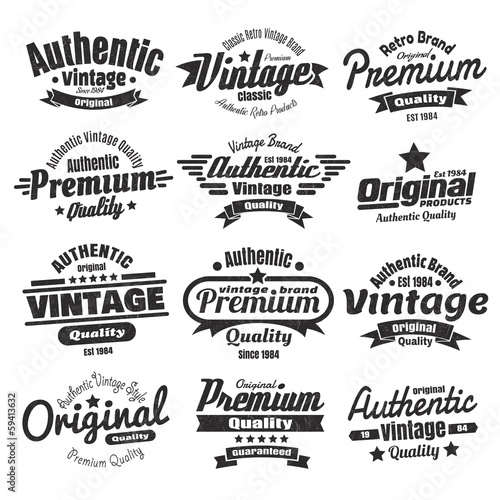 12 Vintage Insignias Or Labels