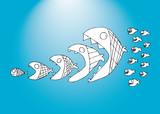 Fish cartoon funny background
