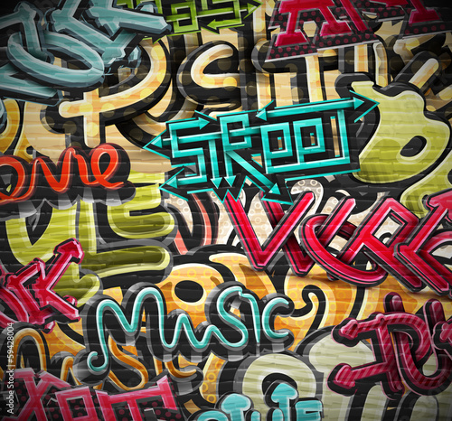 Spoed Foto op Canvas Graffiti Graffiti background