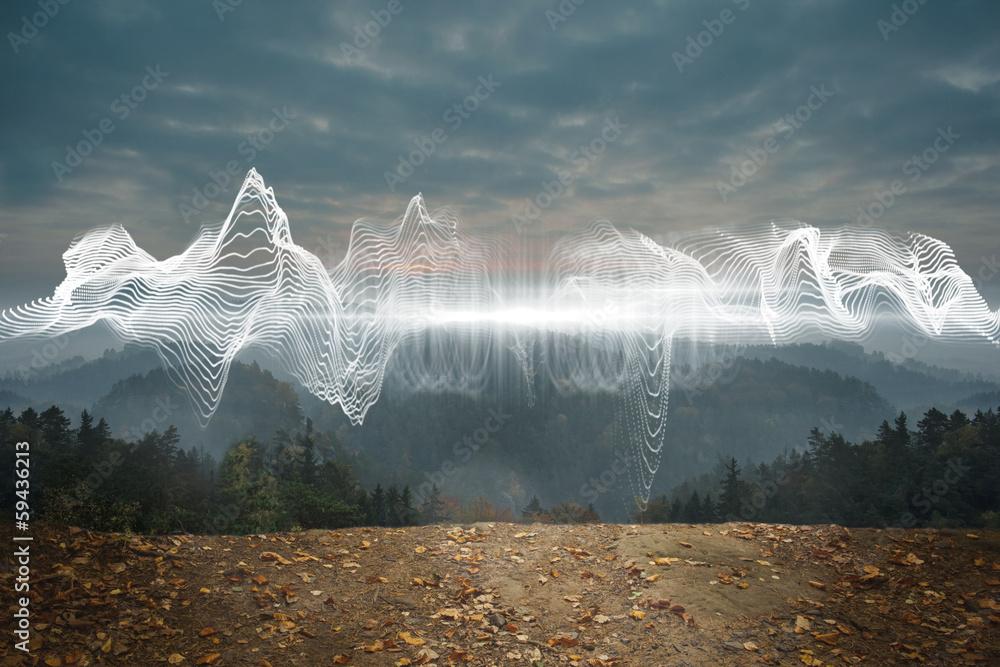 Fototapety, obrazy: Energy design over landscape