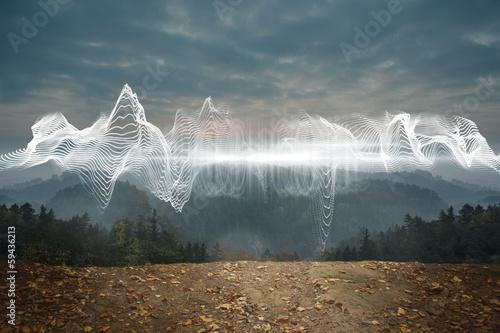 fototapeta na lodówkę Energy design over landscape