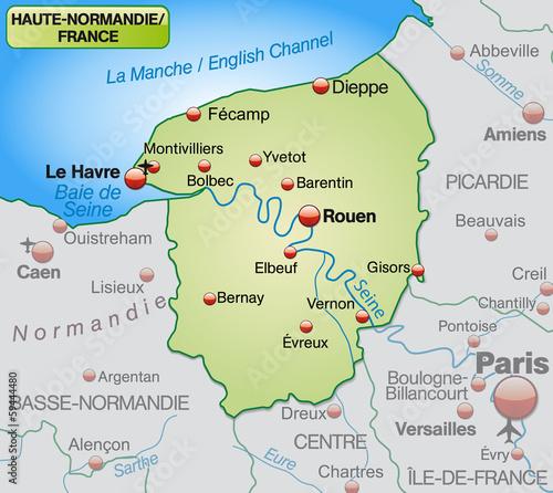 Fényképezés  Umgebungskarte von Haute-Normandie