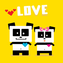 Panda Bear Couple. Valentines Day Vector Background
