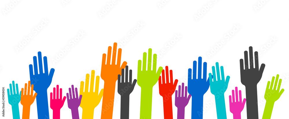 Fototapeta association - bras en l'air