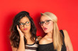 canvas print picture - Funny blonde and brunette women portrait against red background.