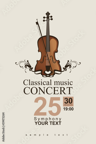 Canvas Print poster for a concert of classical music with violin