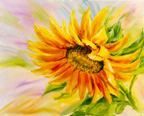 Sunflower, oil painting on ...