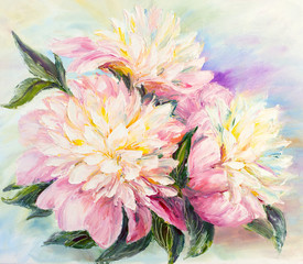 Panel Szklany Peonie Peonies, oil painting on canvas