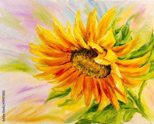 Sunflower, oil painting on canvas - 59475803
