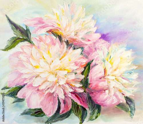 Peonies, oil painting on canvas - 59475820