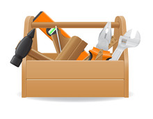 Wooden Tool Box Vector Illustration