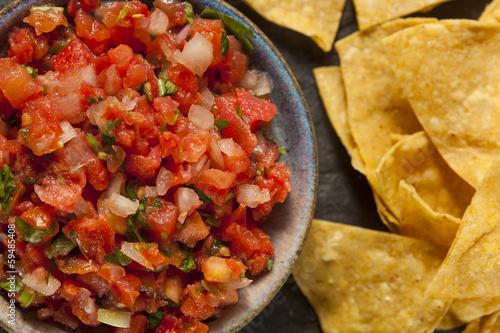 Fotografie, Obraz  Homemade Pico De Gallo Salsa and Chips