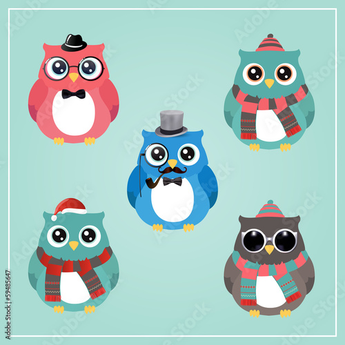 Poster Uilen cartoon Cute Winter Christmas Hipster Penguins Vector Illustration