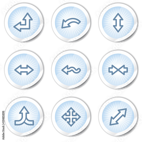 Fotografija  Arrows web icons set 2, light blue stickers