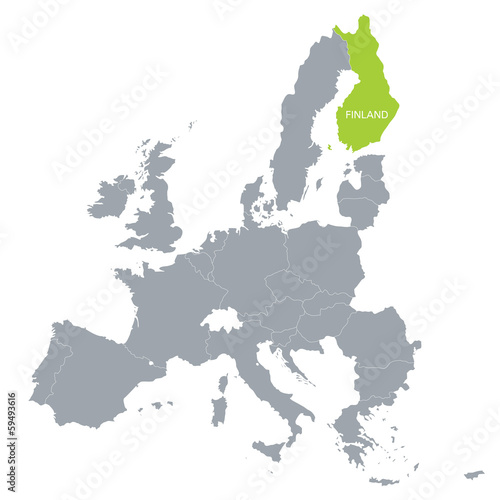 map of European Union with the indication of Finland Tableau sur Toile