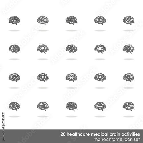 Fotografie, Obraz  działanie mózgu zestaw ciemnych ikon na białym tle