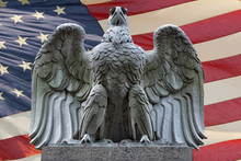 American Eagle Statue On Flag Background